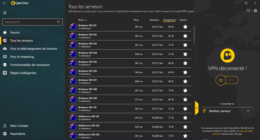 serveurs australiens disponibles