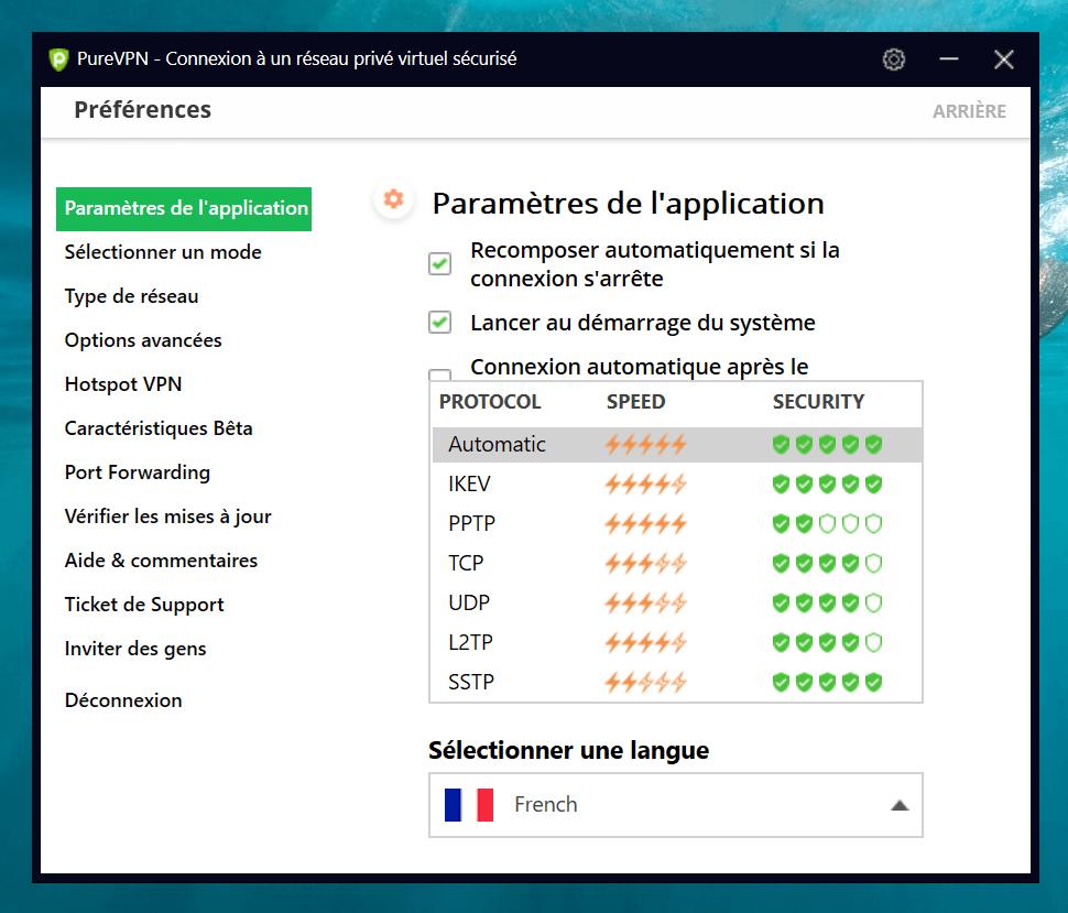 différents protocoles Pure VPN