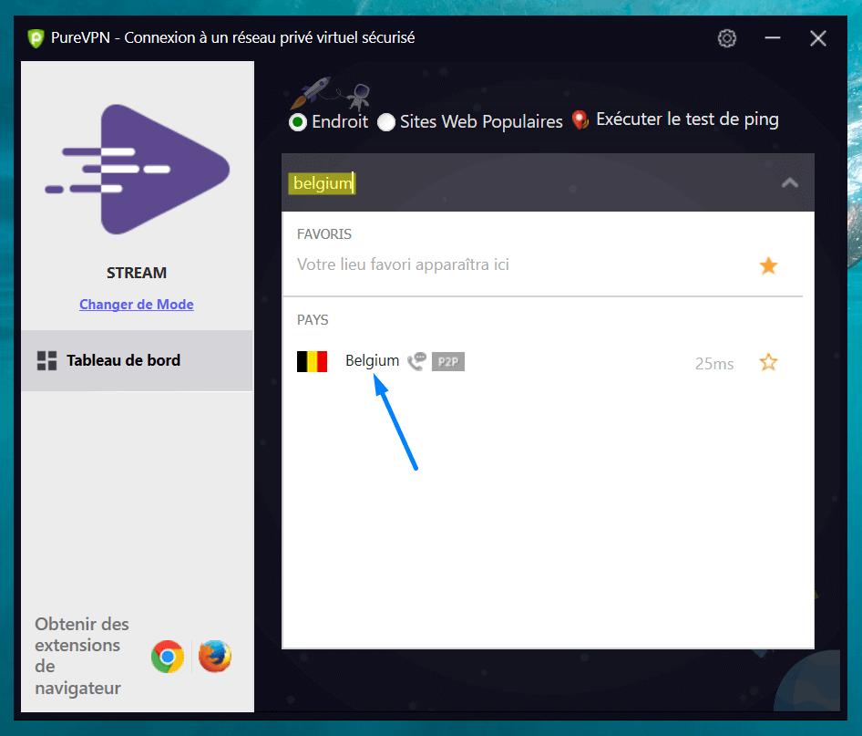 connection belgique pure vpn