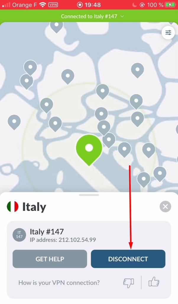 se déconnecter nordvpn iphone