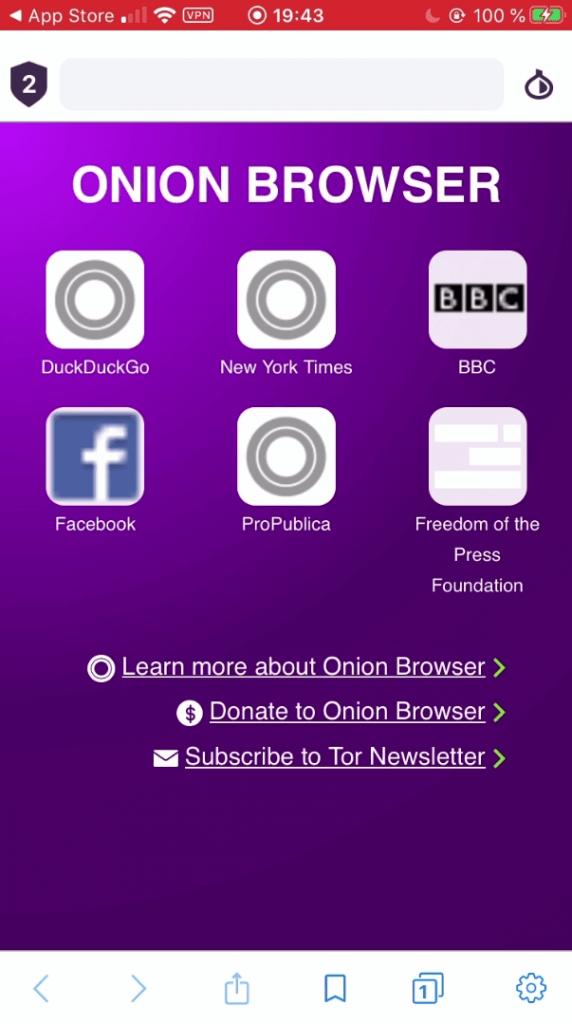 Navigateur OnionBrowser Tor iOS