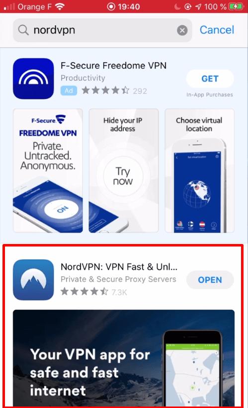 Installer NordVPN AppStore