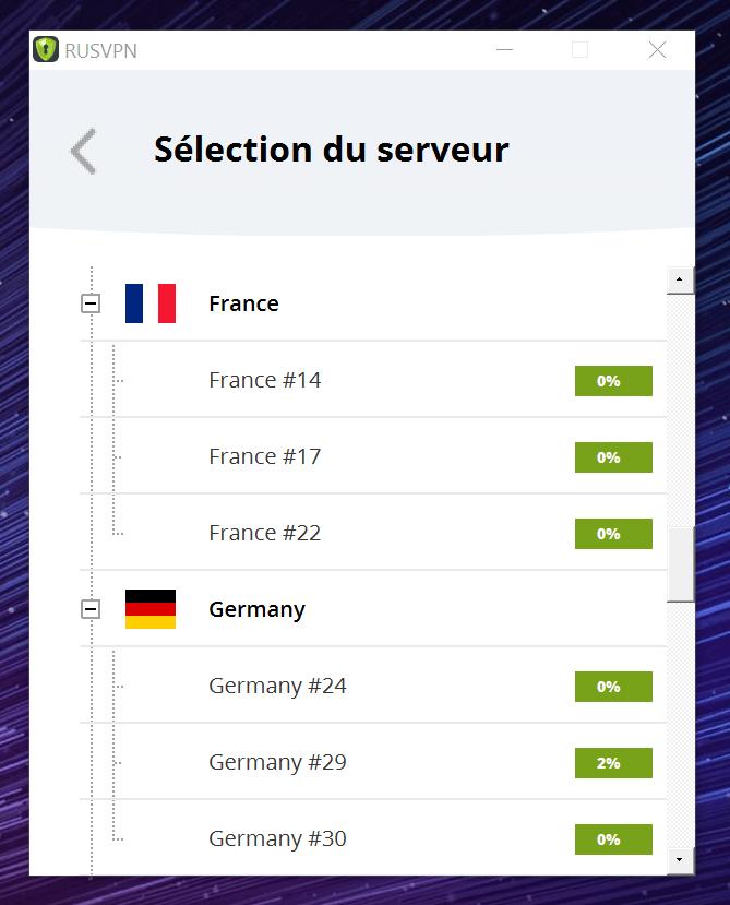 Liste Serveurs RusVPN