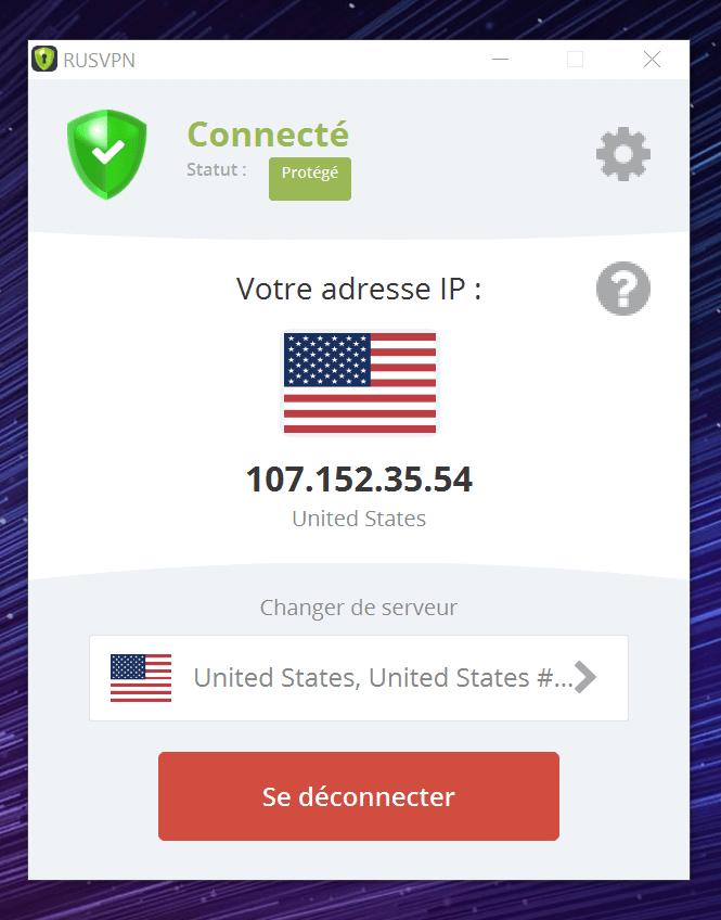 RUSVPN connecté