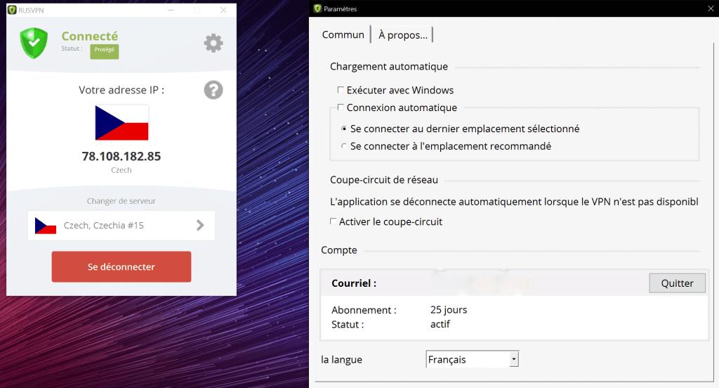 RusVPN Interface Utilisateur Windows
