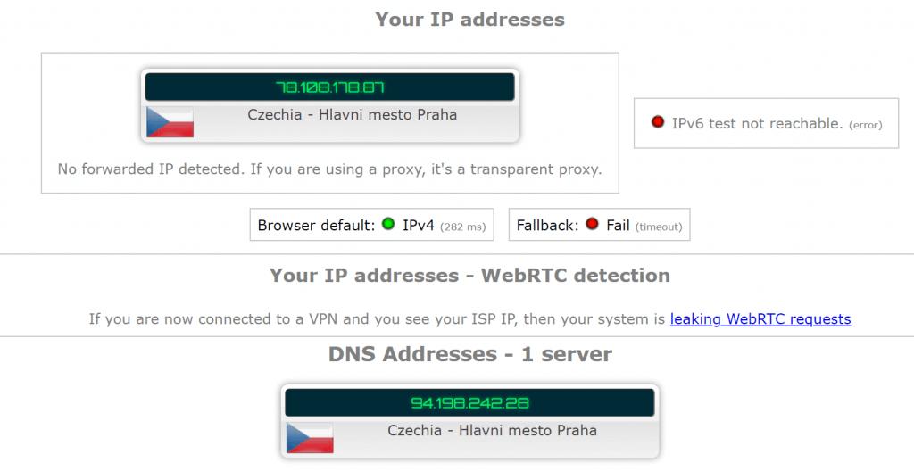 Test IP leak DNS leak RusVPN