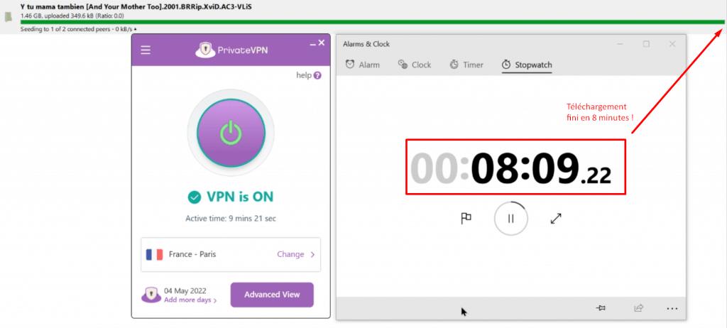 temps de téléchargement d'un torrent avec privatevpn
