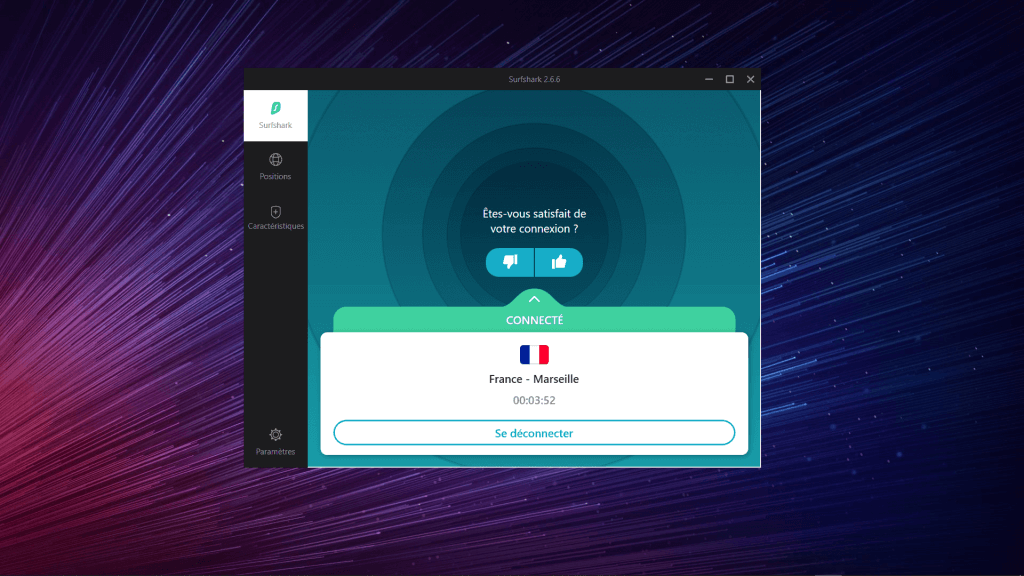 Interface Surfshark ordinateur - Connecté au vpn