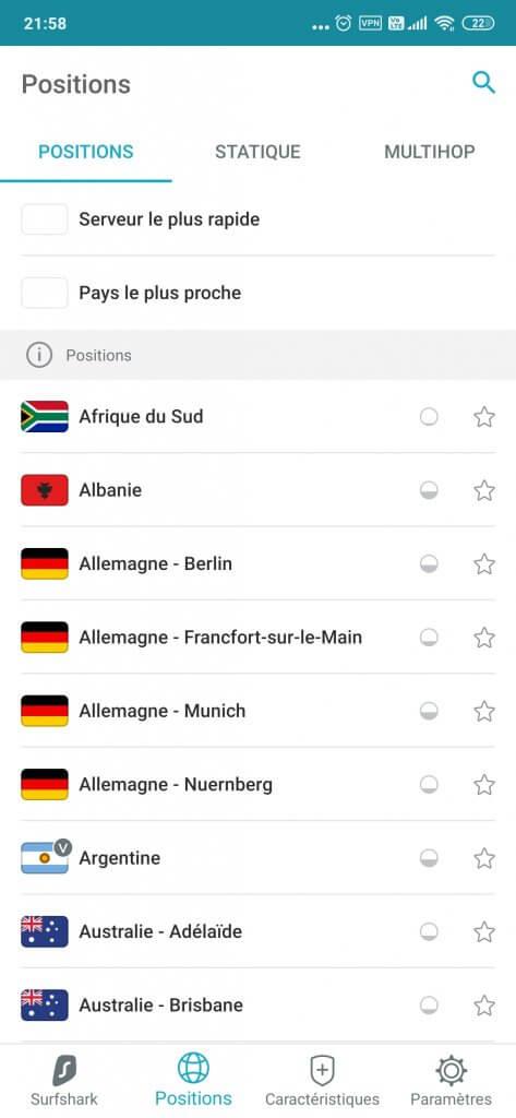 Interface Surfshark smartphone -liste vpn serveurs