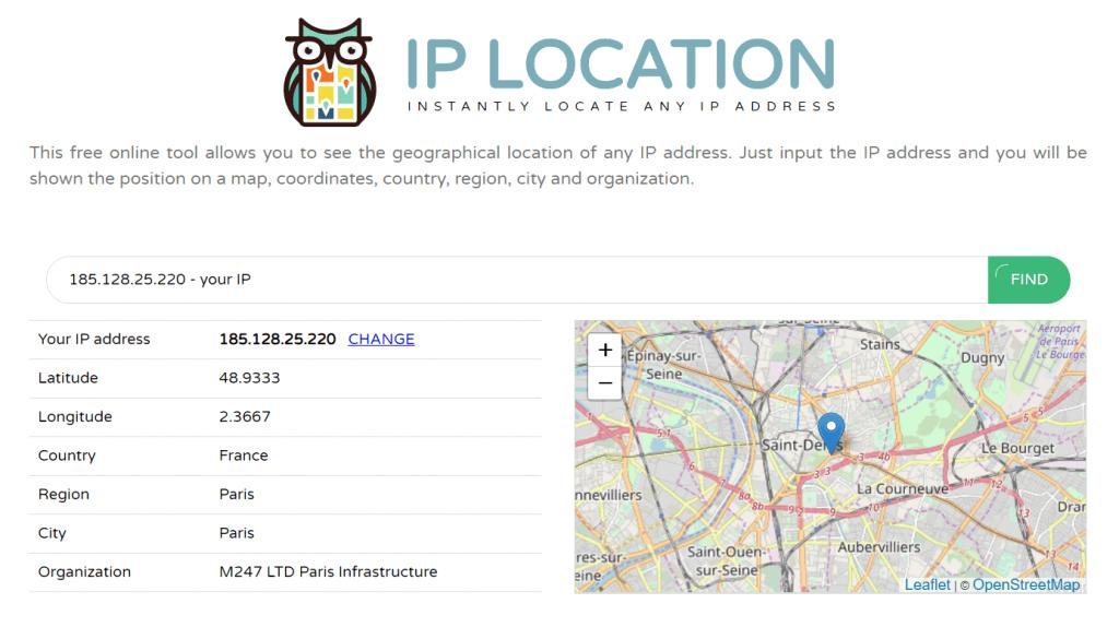 ip emplacement géographique