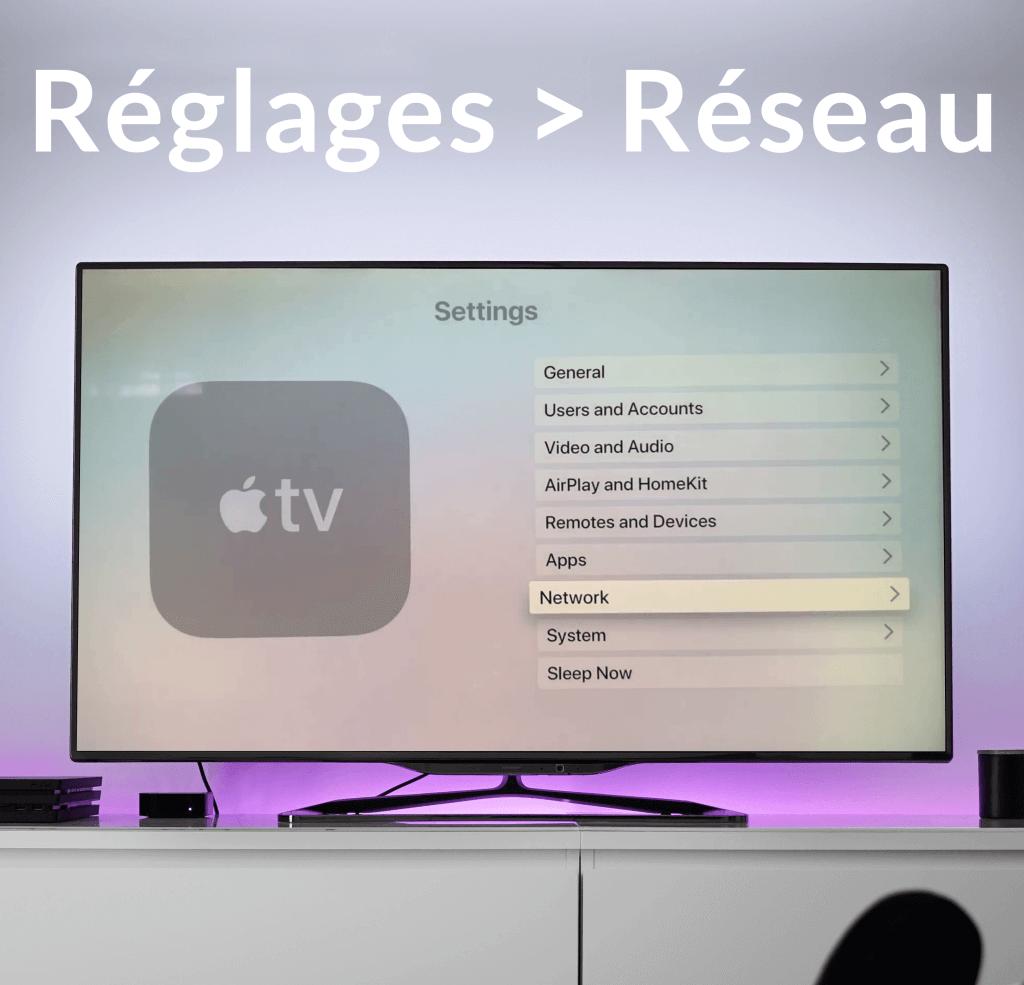réglages et réseau sur apple tv