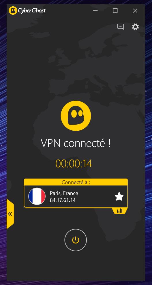 Cyberghost VPN connecté