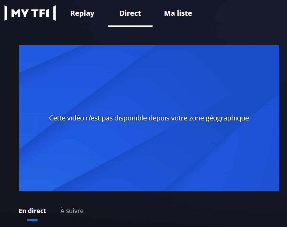 MyTF1 cette vidéo n'est pas disponible depuis votre zone géographique
