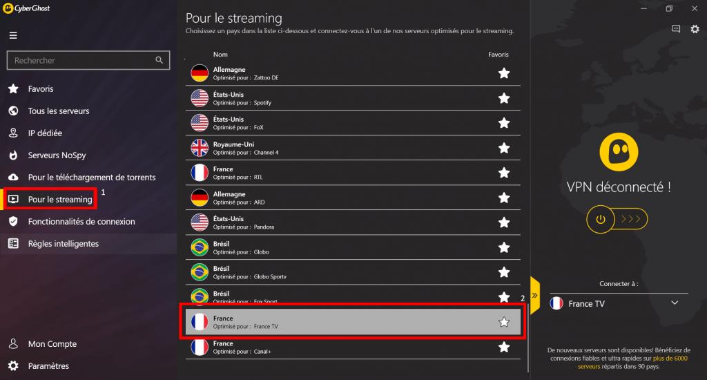 Se connecter au serveur France TV