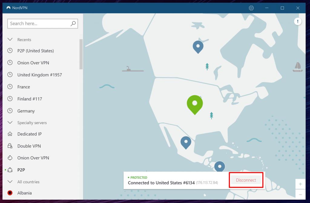 Déconnexion sur NordVpn
