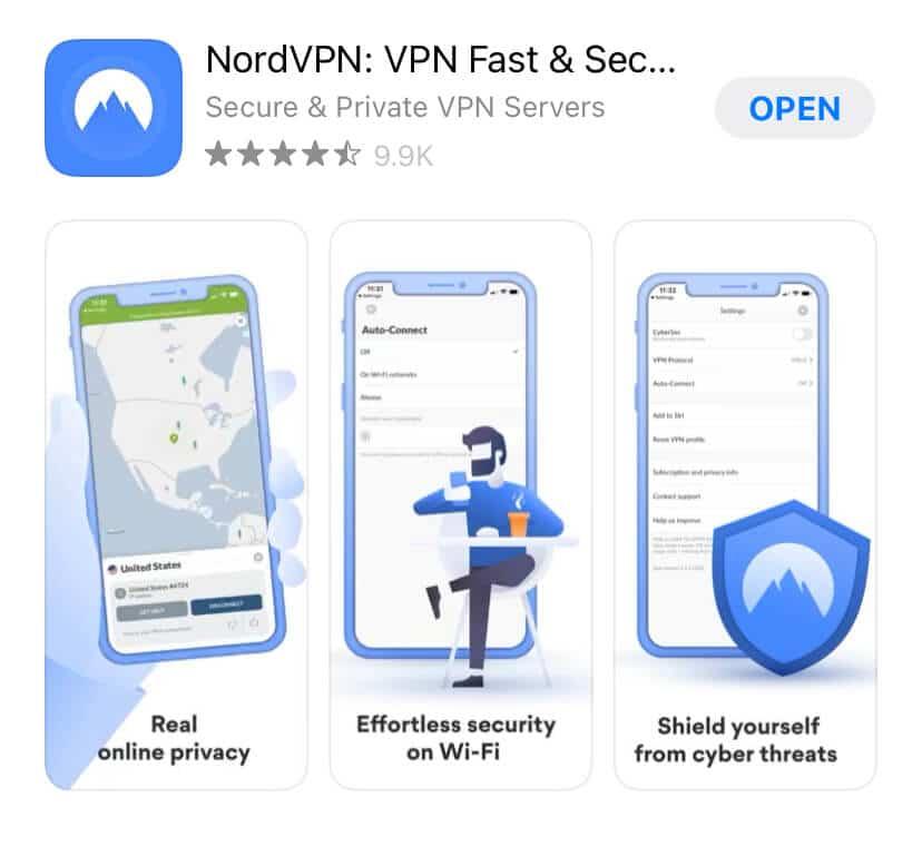 NordVPN sur l'Appstore