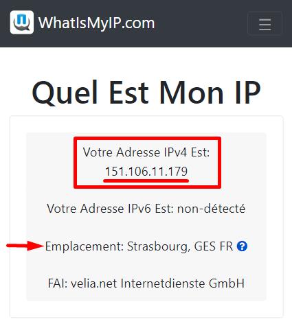 Adresse IP détectée en France