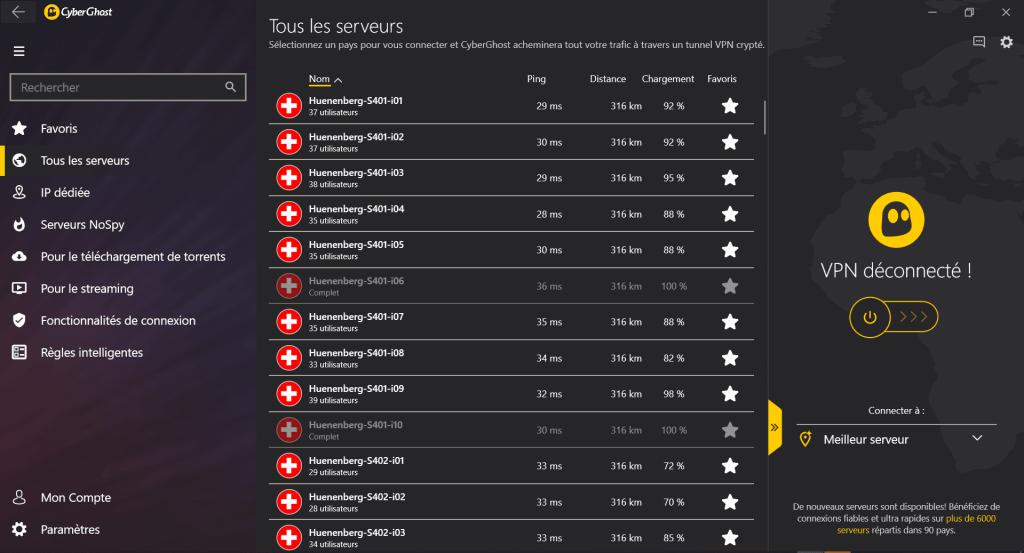 Serveurs suisses sur cyberghost
