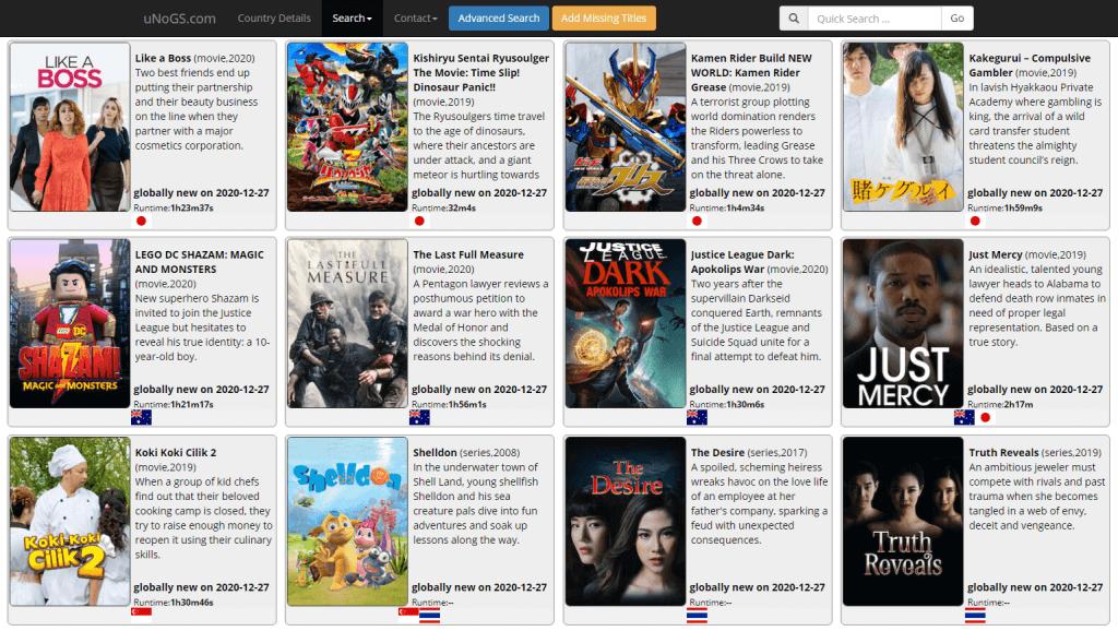 Exemple films series non disponibles dans tous les pays sur netflix