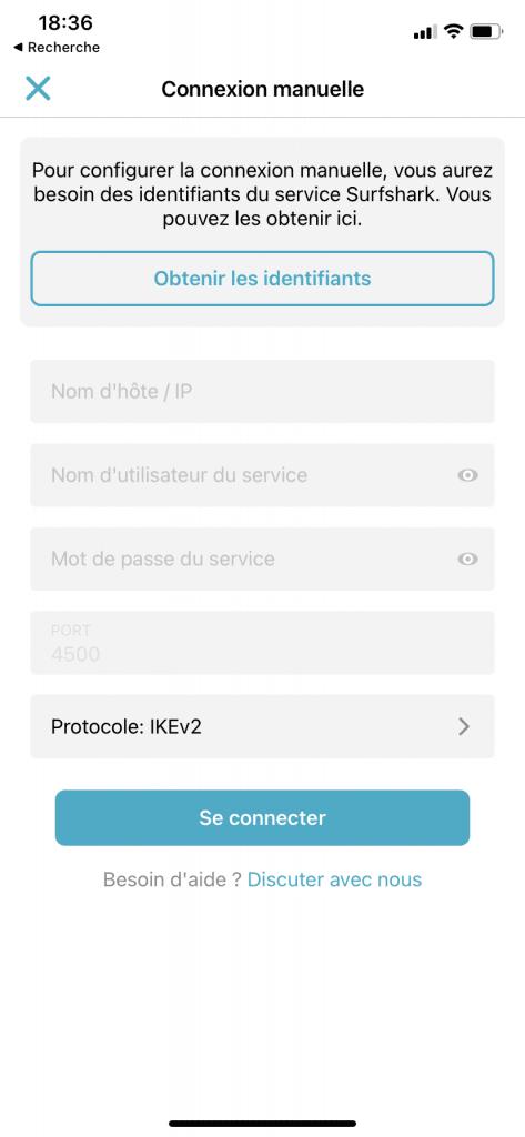 Configuration manuelle surfshark iphone