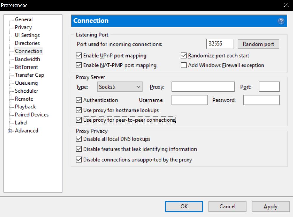 Cases a cocher sur utorrent pour configurer un vpn