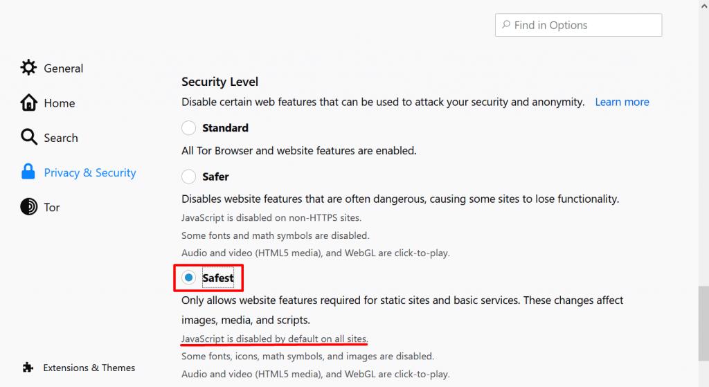 changer le niveau de securite tor