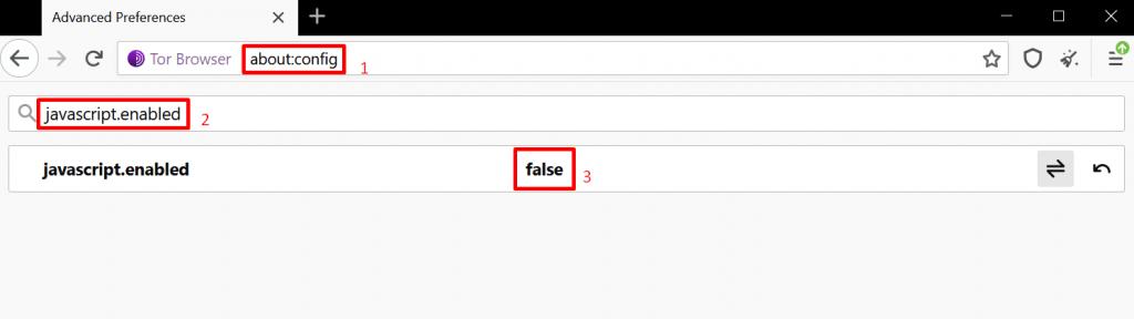 desactiver javascript avec about config tor