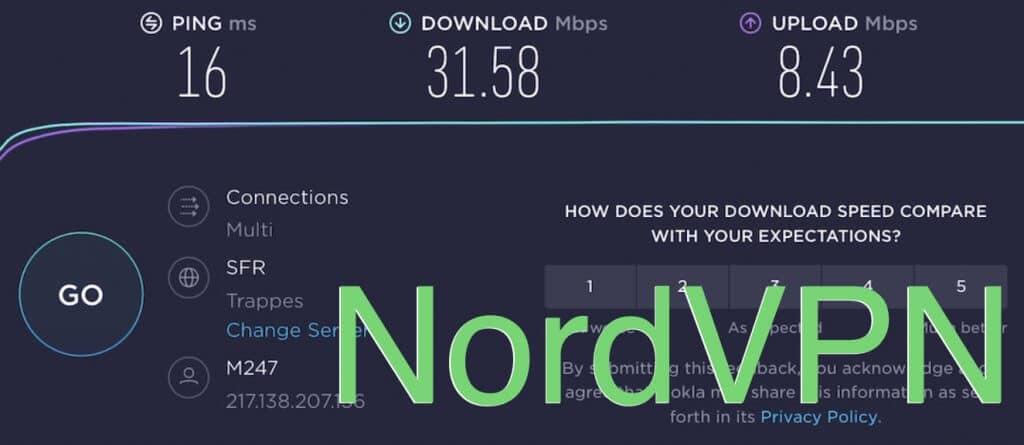 Test de connexion NordVPN Bretagne